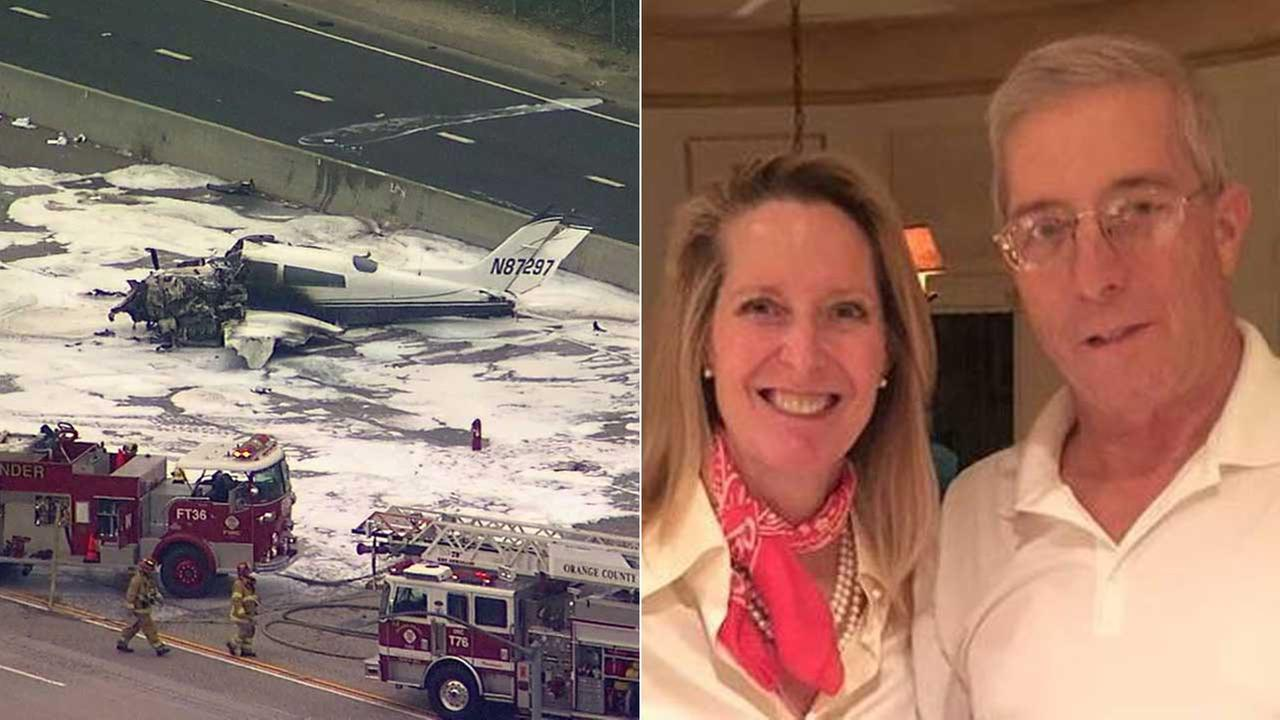 (Left) The wreckage of a plane that crashed on the 405 Freeway. (Right) The Pisanos are seen in a photo provided by the Pisano family.