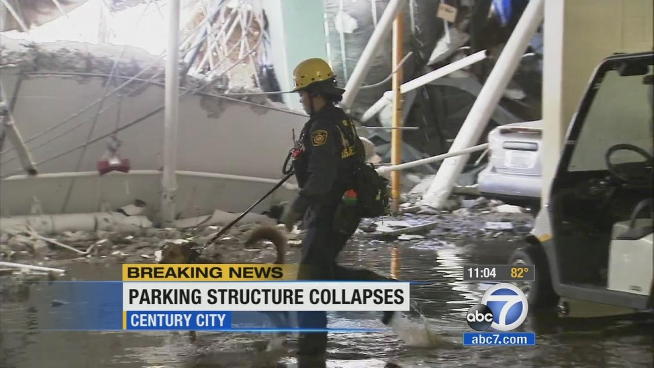 An underground parking structure collapsed in Century City on Friday, July 25, 2014.