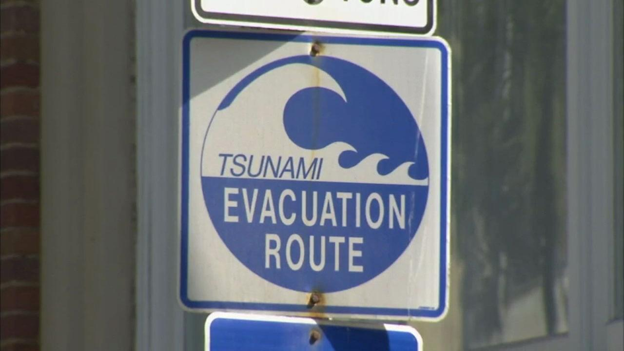 A tsunami evacuation route sign is shown in an undated file photo.
