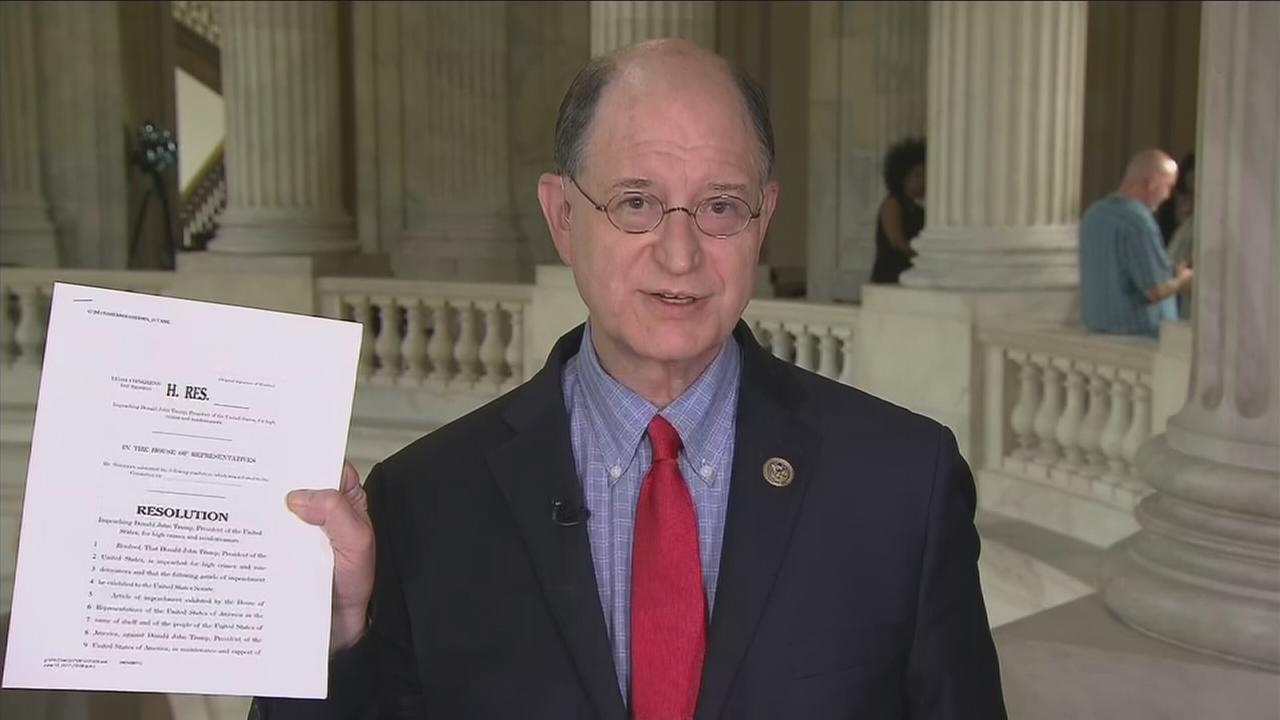 In a June interview, Rep. Brad Sherman, D-Sherman Oaks, holds up a draft of an article of impeachment against President Donald Trump.