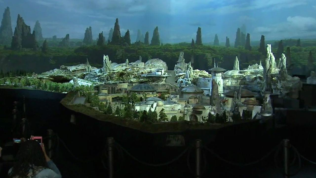 A large-scale model of the new Star Wars-themed lands coming to Disneyland and Walt Disney World was unveiled Thursday, July 13, 2017.