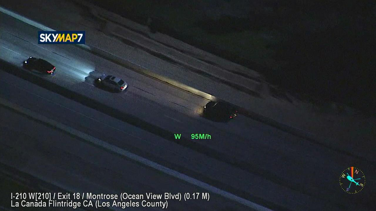 A suspect reaches speeds as high as 95 mph while leading authorities on a chase through Los Angeles County on Friday, July 14, 2017.