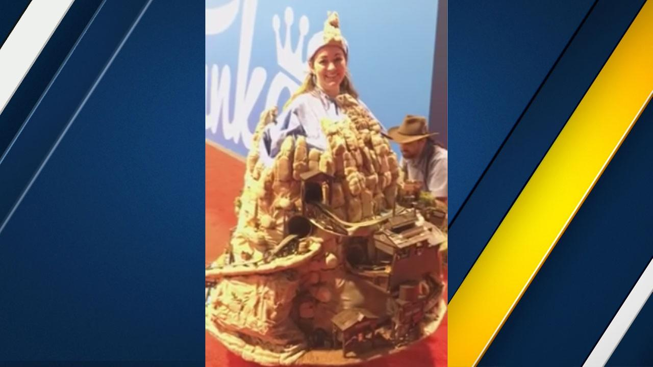 Disney fan Tina Elliot dressed in a Big Thunder Mountain Railroad costume at the D23 Expo on Friday, July 14, 2017.