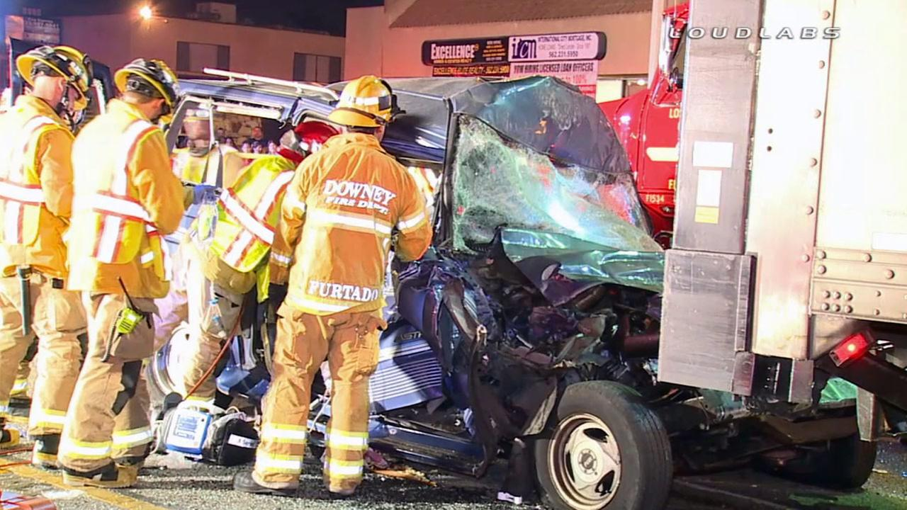 Fire crews at the scene of a crash in Downey that left one person dead on Friday, July 25, 2014.
