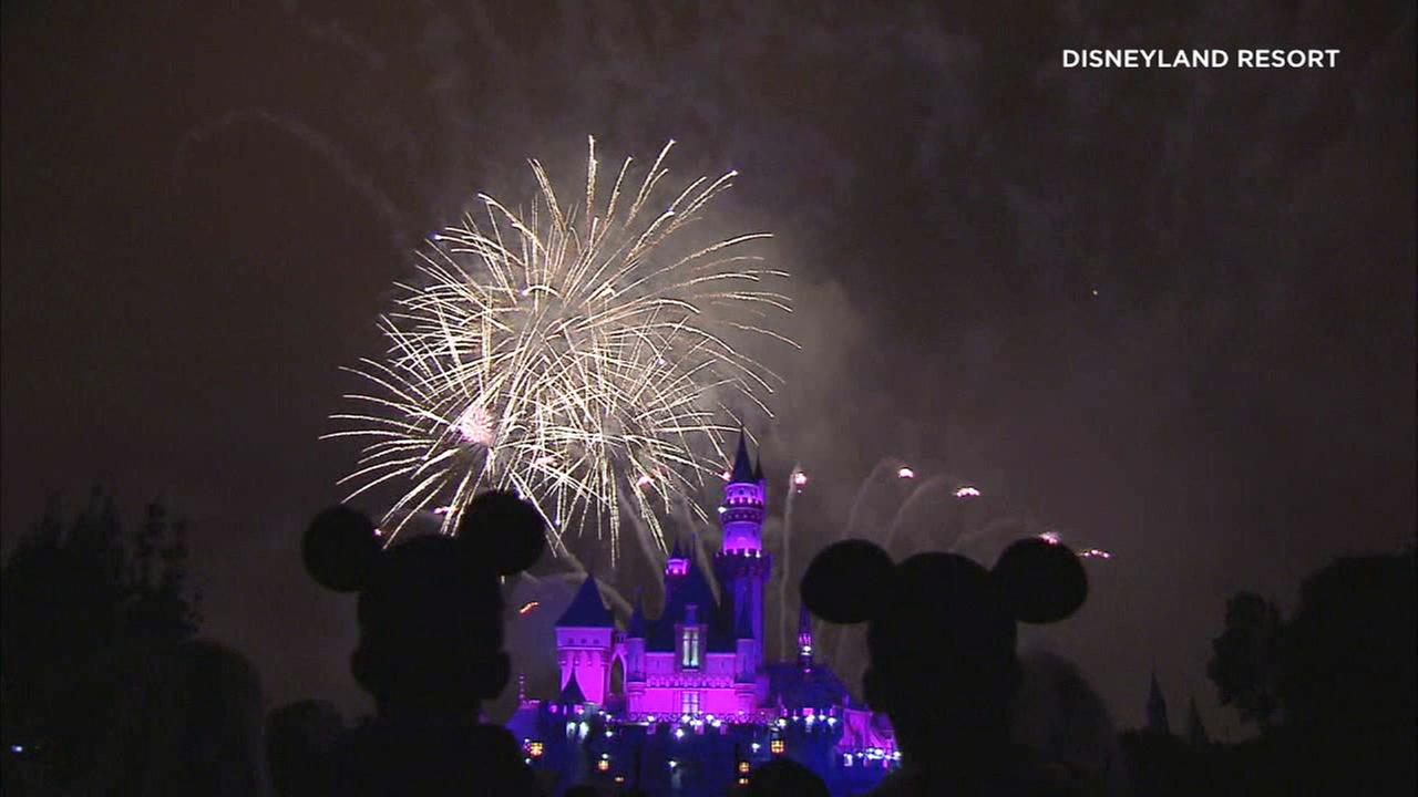 An undated photo shows fireworks behind Sleeping Beautys Castle at Disneyland.
