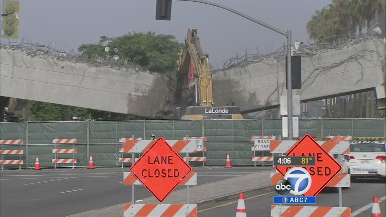 Construction crews successfully tore down a bridge near LAX on Saturday, July 26, 2014 as part of the weekend-long Century Crunch.