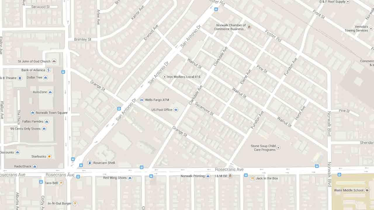 A map indicates the area near the 12000 block of Sycamore Street in Norwalk where a 14-year-old boy was shot during a drive-by shooting Saturday, July 26, 2014.