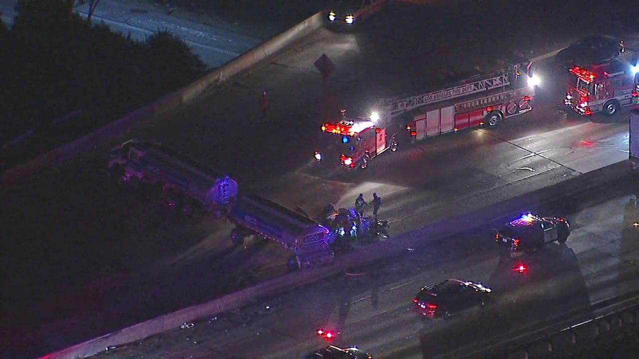 Gas tanker crash shuts down NB 5 Fwy in downtown LA