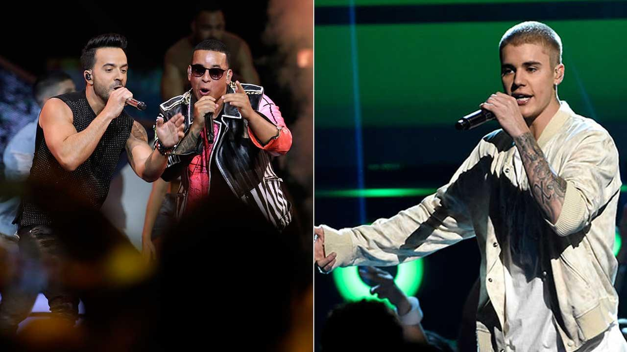 (Left) Luis Fonsi, left and Daddy Yankee perform at the Latin Billboard Awards on July 19, 2017. (Right) Justin Bieber is seen in an undated file photo.