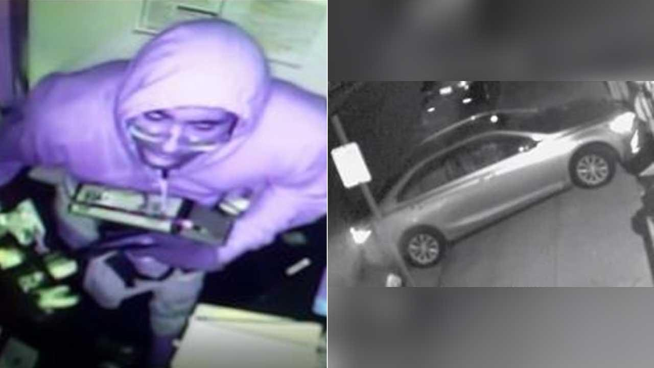 These images show one of two suspects and a getaway car involved in a jewelry store robbery in West Hollywood on June 23.