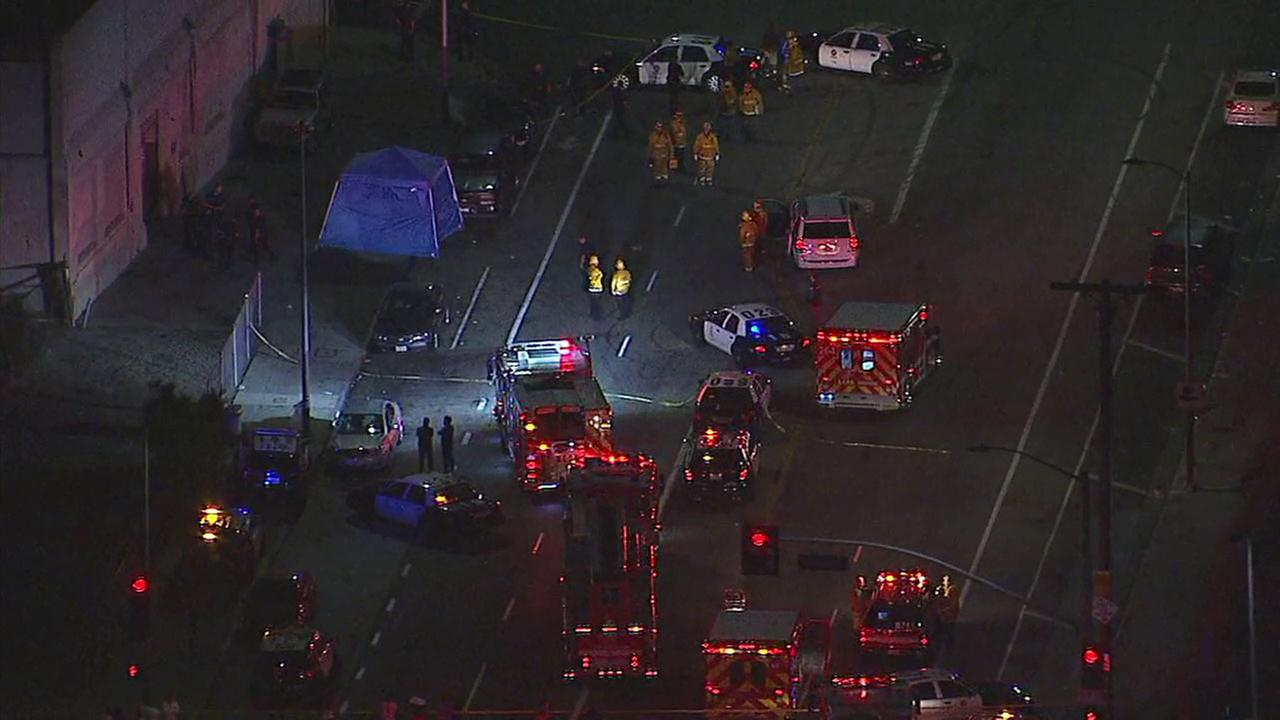 One person was killed and another wounded in two shootings at nearby locations in South Los Angeles, police said.