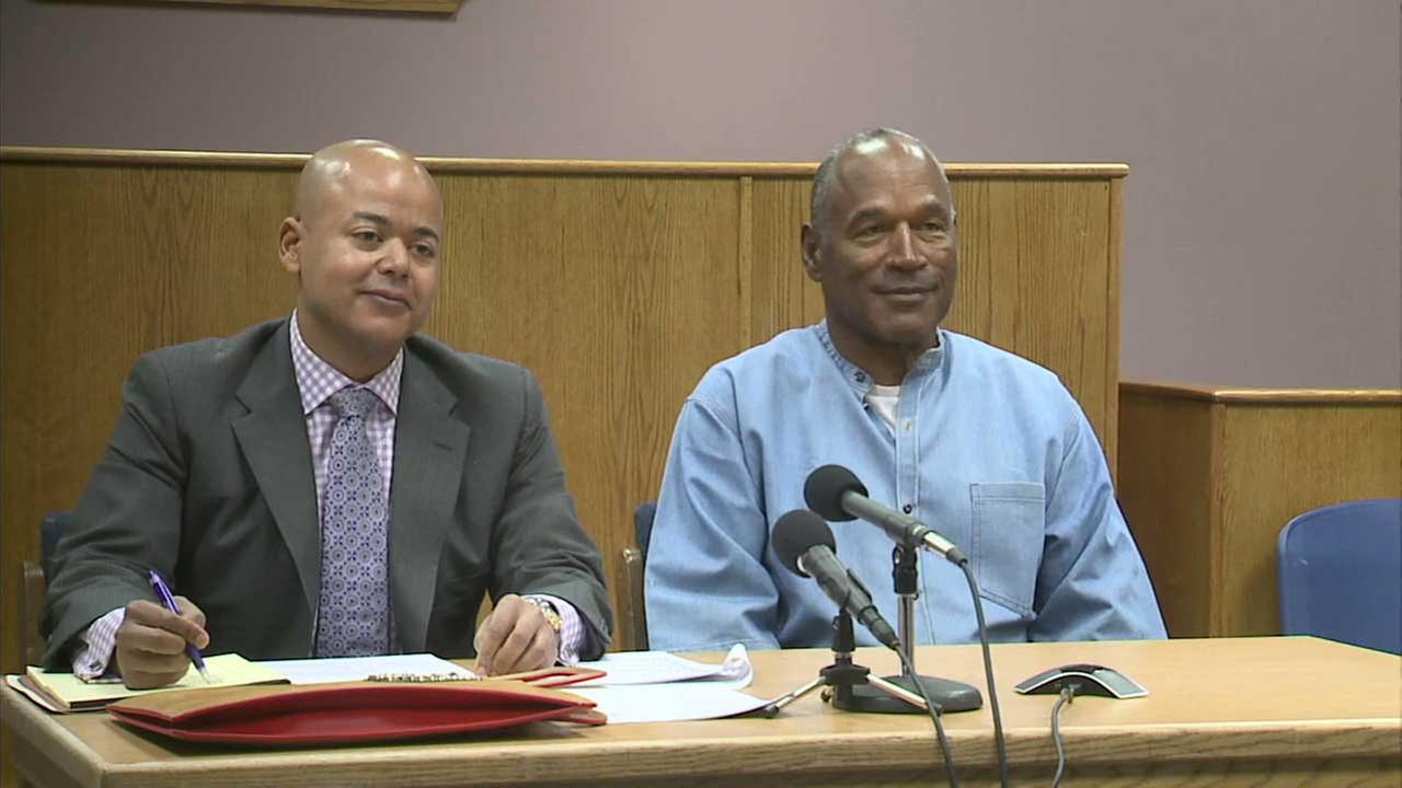 O.J. Simpson smiles during his parole hearing in Nevada on Thursday, July 20, 2017.