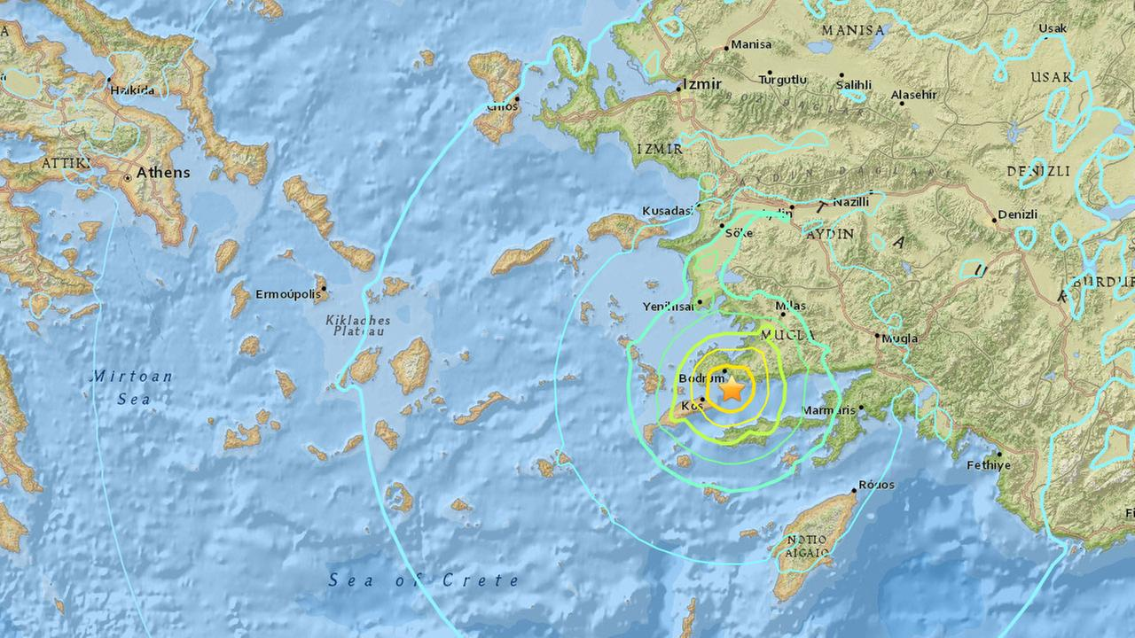 An earthquake with a preliminary magnitude 6.7 has struck near Bodrum, Turkey on Thursday, July 20, 2017.
