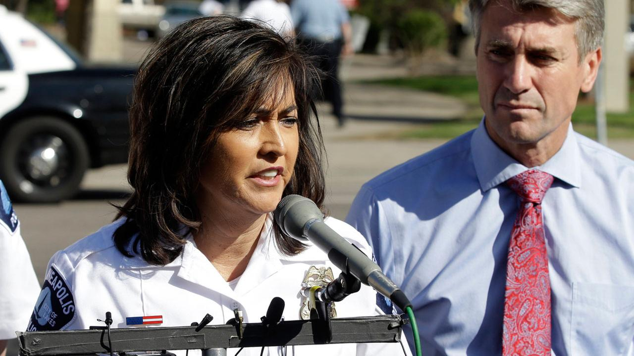 Minneapolis Police Chief Janee Harteau, left, and Mayor R.T. Rybak in a file photo from Friday, May 10, 2013.