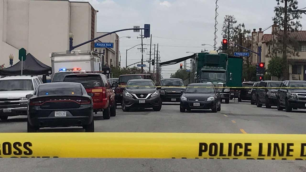 Crime scene tape ropes off the scene of a barricade situation in Azusa on Monday, July 24, 2017.