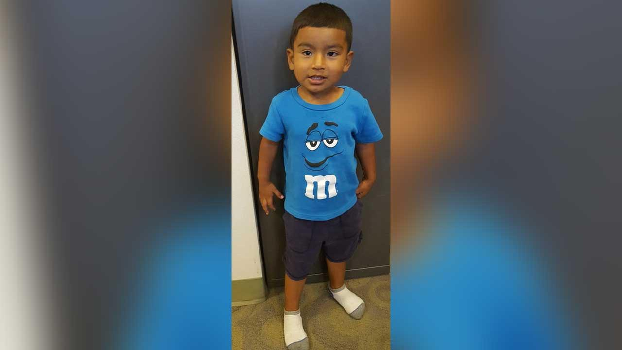 This image released by LAPD shows a 2-year-old boy who was found Monday morning in the North Hills area.