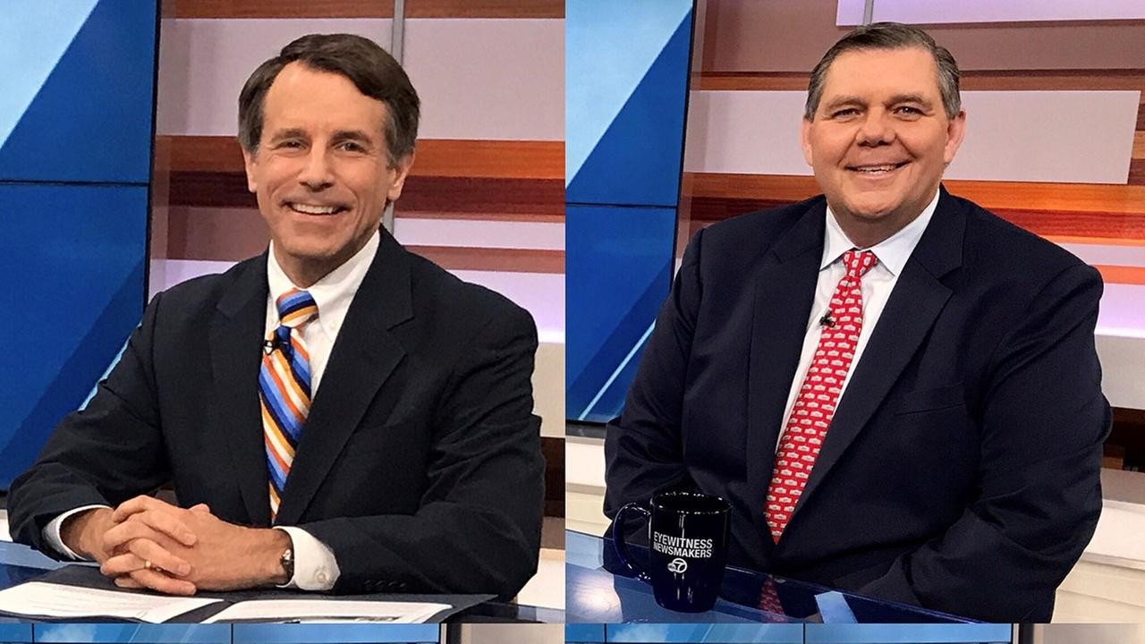 State Insurance Commissioner Dave Jones (left) and state Republican Party Chairman Jim Brulte discussed the pros and cons of universal healthcare on ABC7s Eyewitness Newsmakers.