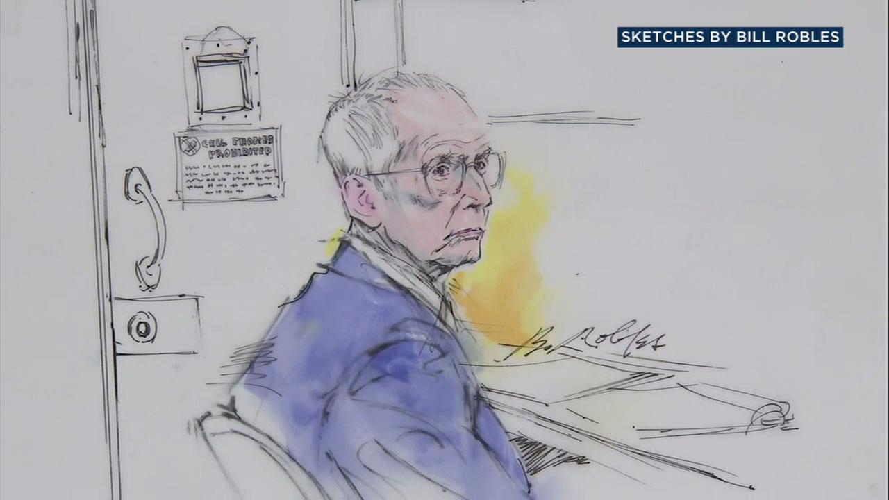 A sketch of Robert Durst listening to pretrial testimony for his murder case in a Los Angeles courtroom on Monday, July 24, 2017.