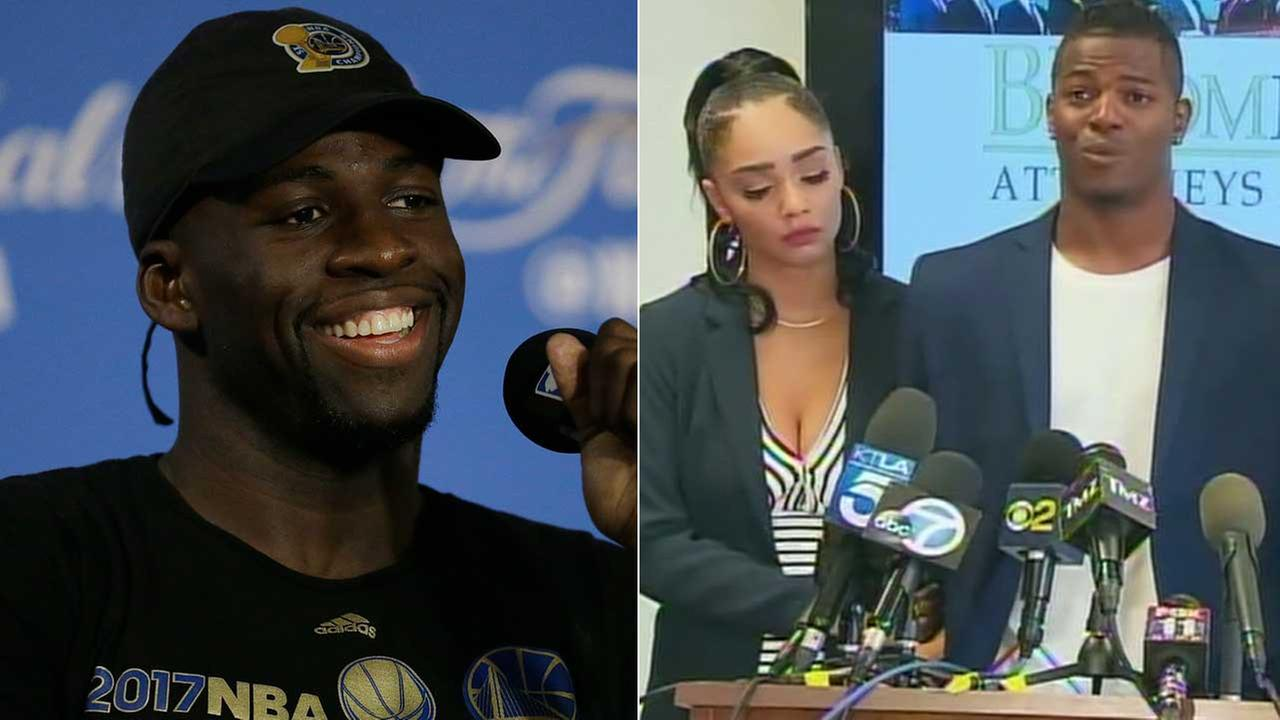 (Left) Draymond Green speaks at a news conference in 2017 in this AP photo. (Right) Jermaine Edmondson and Bianca Williams speak at a news conference on Tuesday, July 25, 2017.