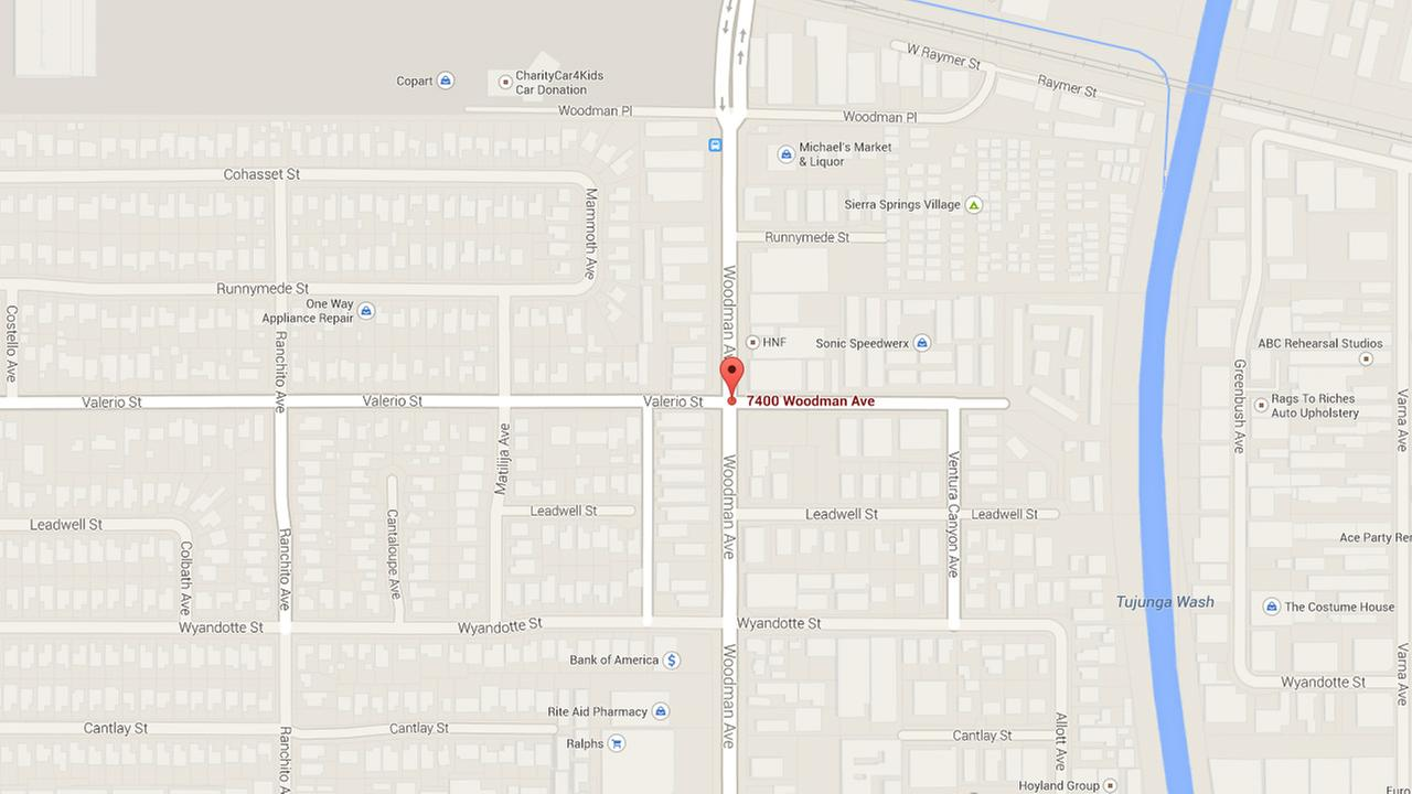 A map shows the 7400 block of Woodman Avenue in Van Nuys.