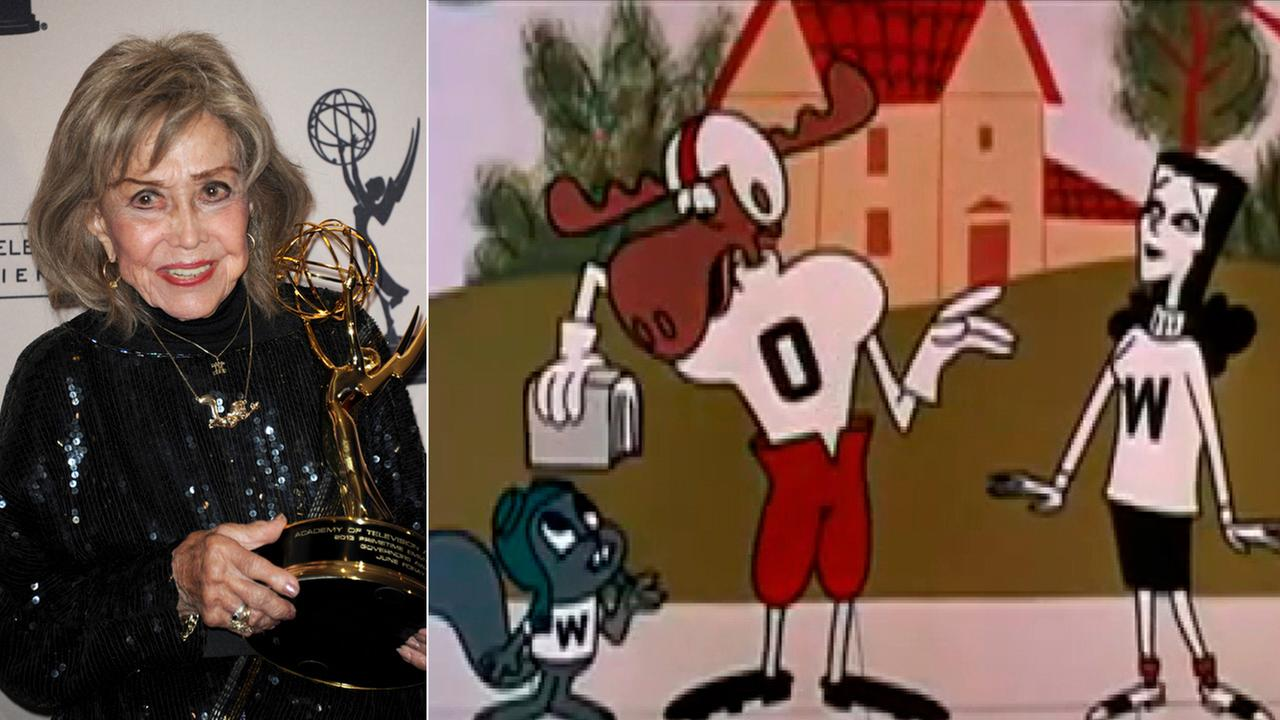 In this Sept. 15, 2013 file phtoo, left, June Foray poses backstage with the Governors Award at the Primetime Creative Arts Emmy Awards at the then Nokia Theatre L.A. Live.