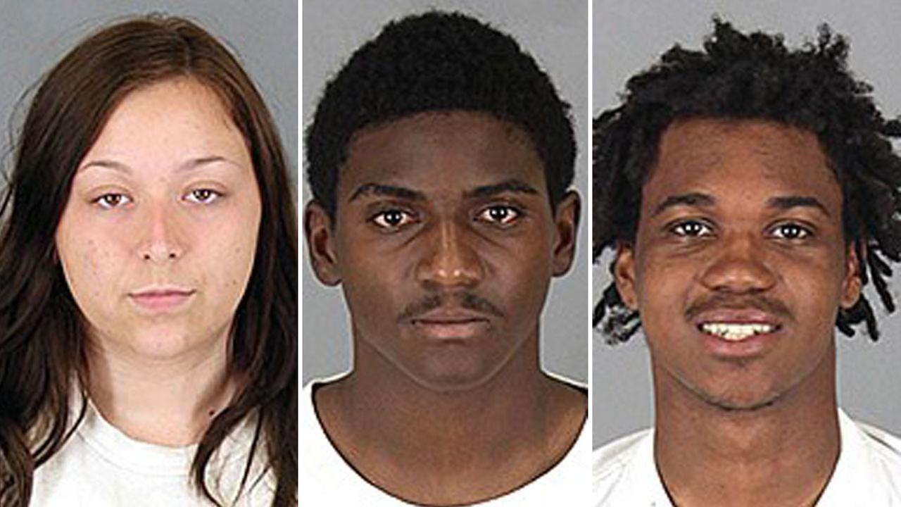 Vanessa Jones, 18, Kassey Harris Martin, 18, and Andru Trinidad Nolen, 20, all of Hemet, are shown in mugshots.