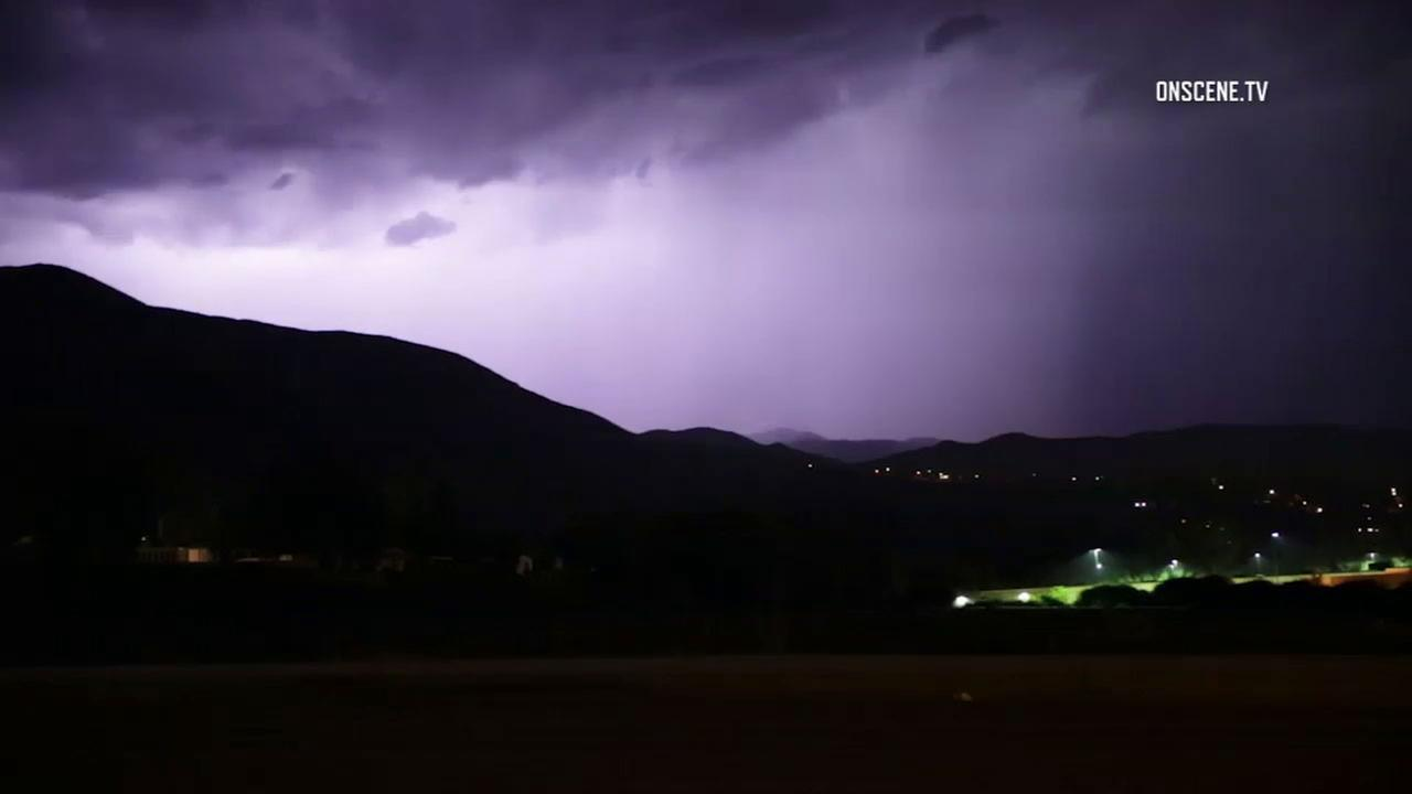 Lightning brightens the night sky over the San Bernardino Mountains early in the morning of Tuesday, Aug. 1, 2017.