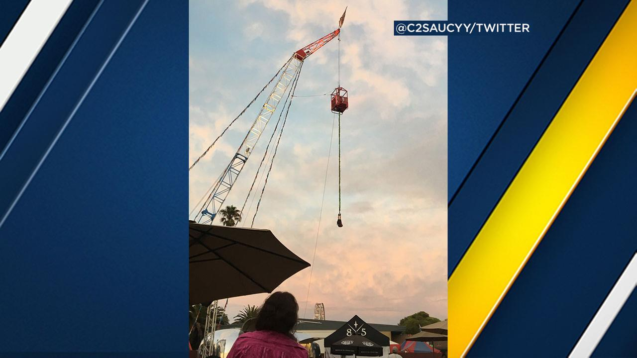 Three rescued from California bungee jump ride after malfunction