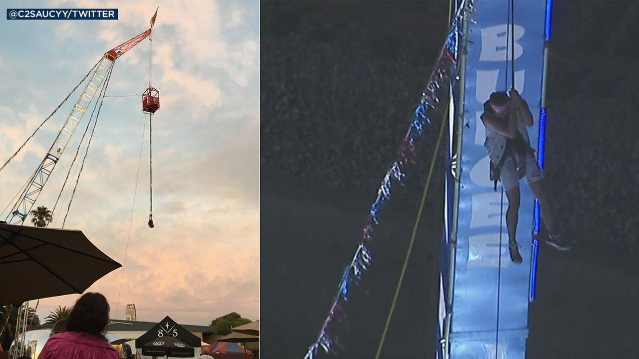 One person was stuck hanging upside down from a bungee ride at the Ventura County Fair. Two others had to rappel down from a cage suspended above the fairgrounds.