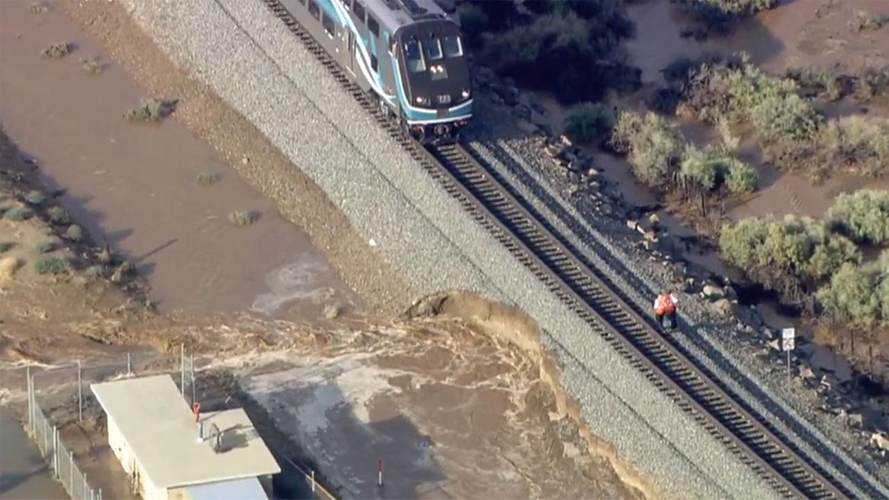 Flood waters damage train tracks, affect commutes in Acton, Palmdale, Lancaster