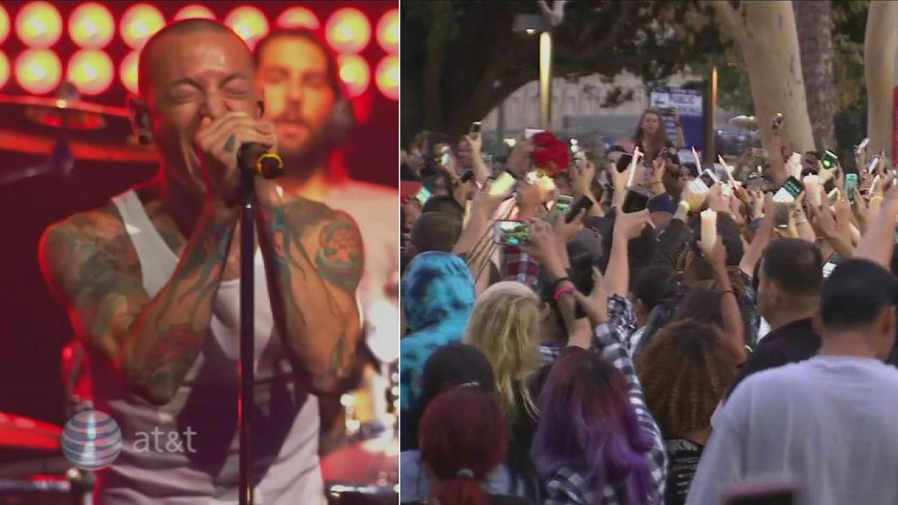 Hundreds of fans gathered in downtown Los Angeles to honor the memory of Linkin Park frontman Chester Bennington, who committed suicide last month at age 41.