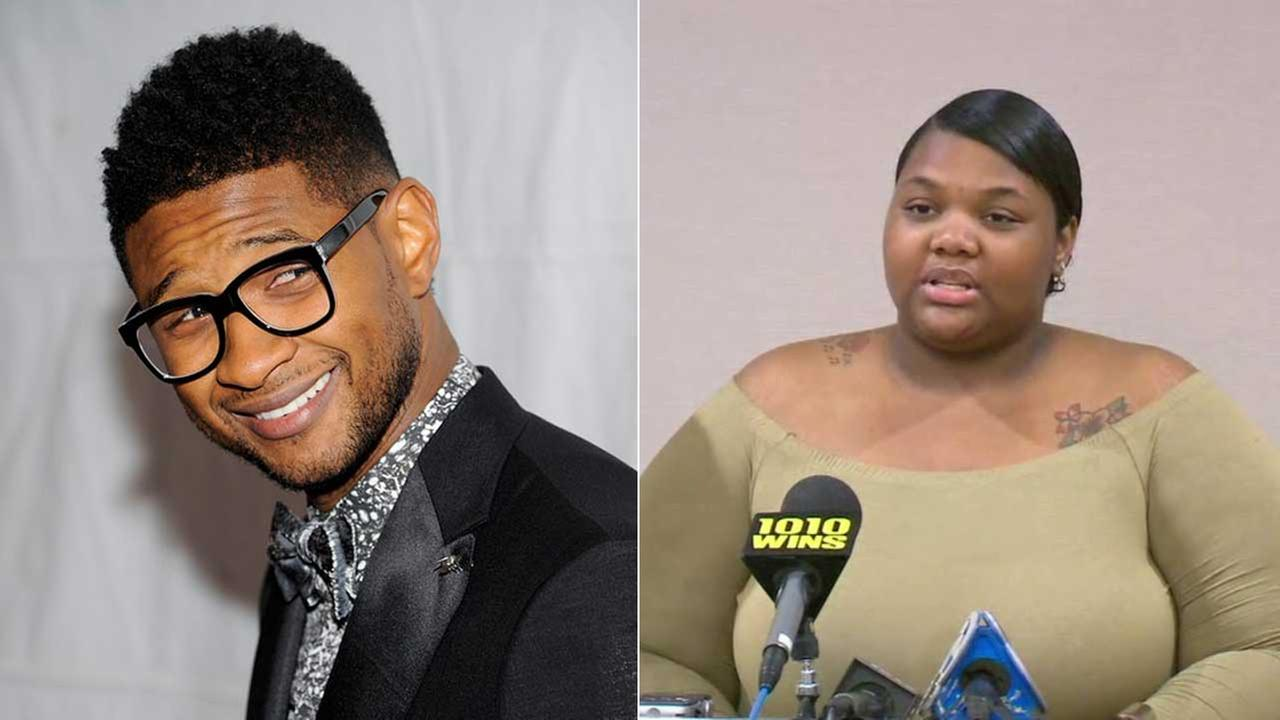 (Right) Quantasia Sharpton speaks at a news conference on Monday, Aug. 7, 2017, regarding a lawsuit against Usher. (Left) Usher is seen in an undated photo.