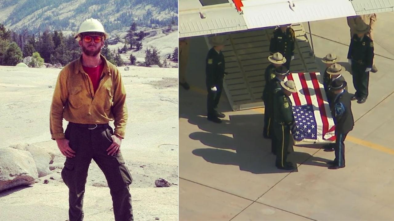 San Bernardino firefighter Brent Witham, killed battling a Montana wildfire, was honored with a ceremonial procession on Monday, Aug. 7, 2017.
