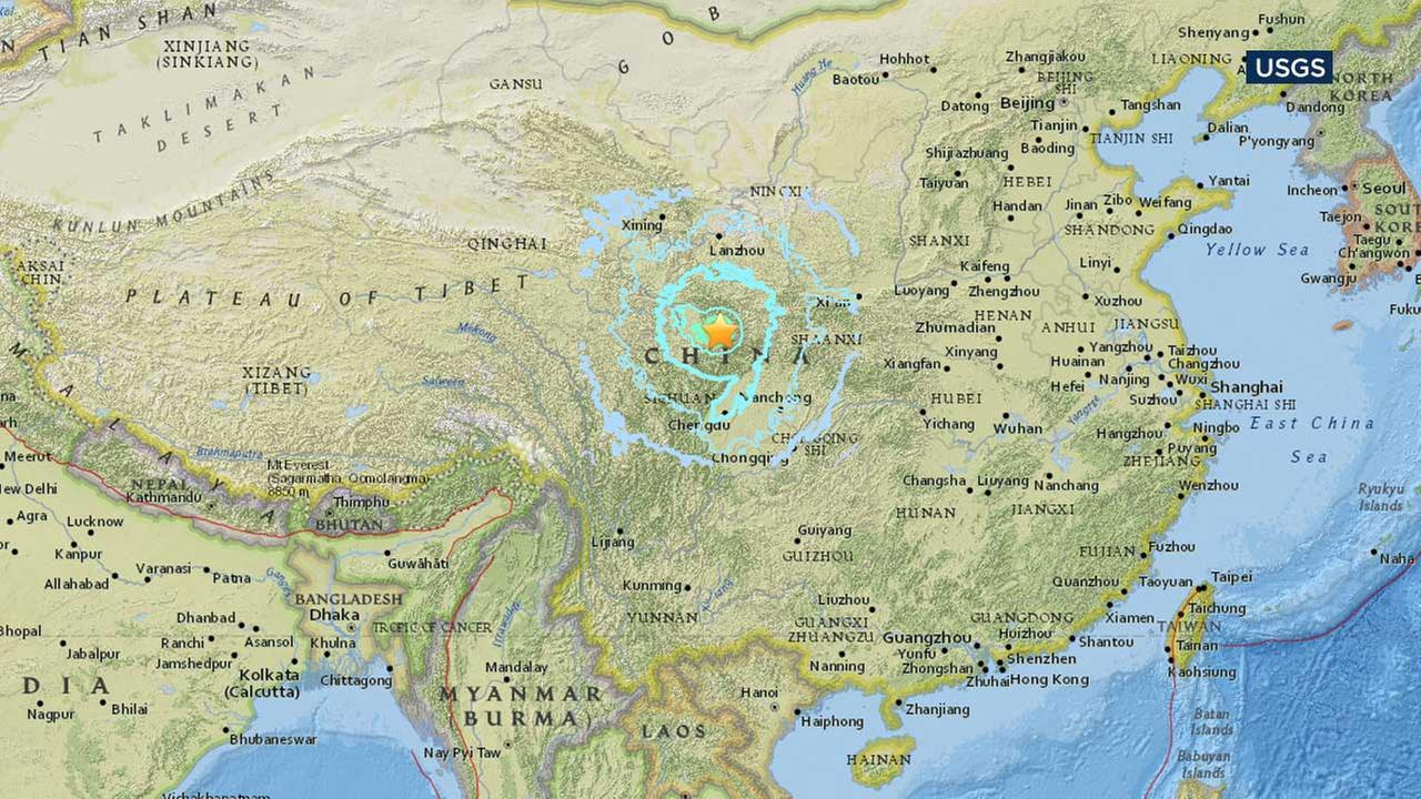 A map from the U.S. Geological Survey shows the location of a large earthquake that struck western China.