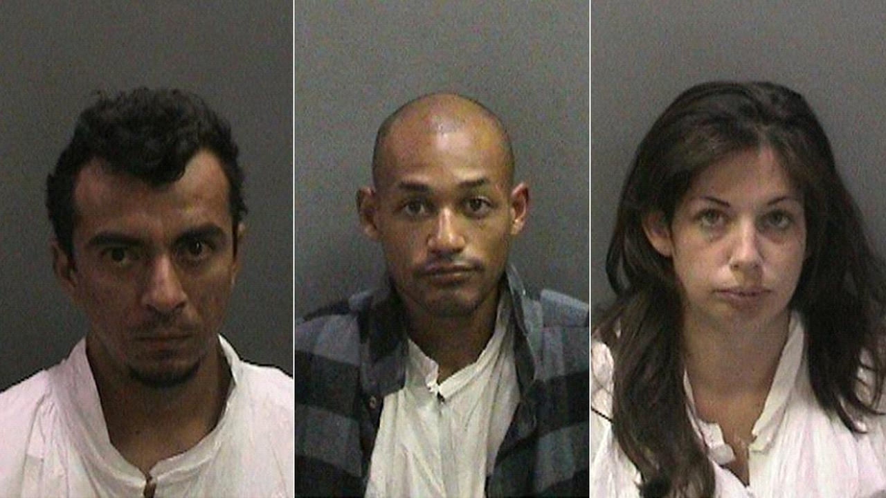Oscar Gonzalez-Salinas, Renice Stevenson Flores-Davis and Cierra Rose Thompson are seen in booking photos.