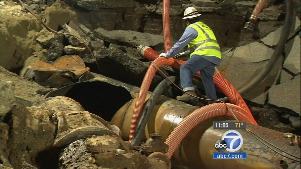 LADWP officials said Wednesday that the repair process for the Westwood water-main break is going to take at least 48 more hours, targeting Friday for re-opening Sunset Blvd.