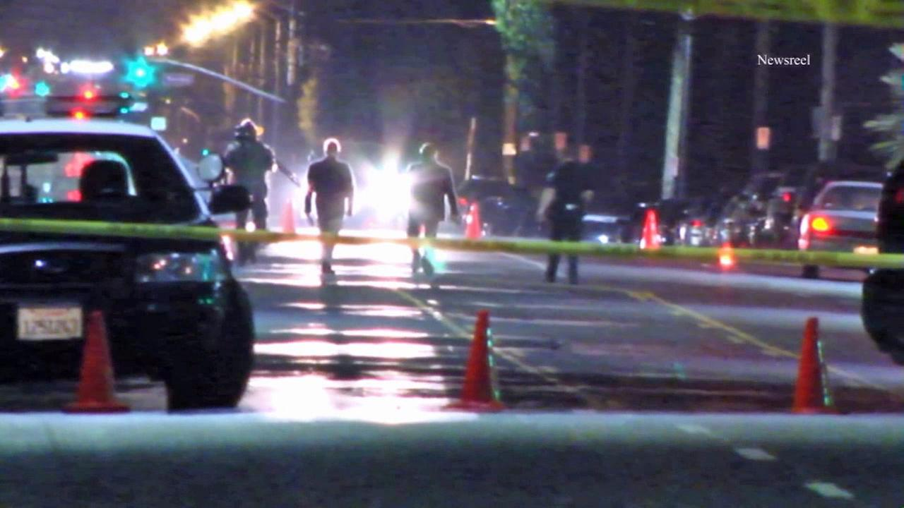 Police investigate a fatal hit-and-run in North Hollywood on Wednesday, July 30, 2014.