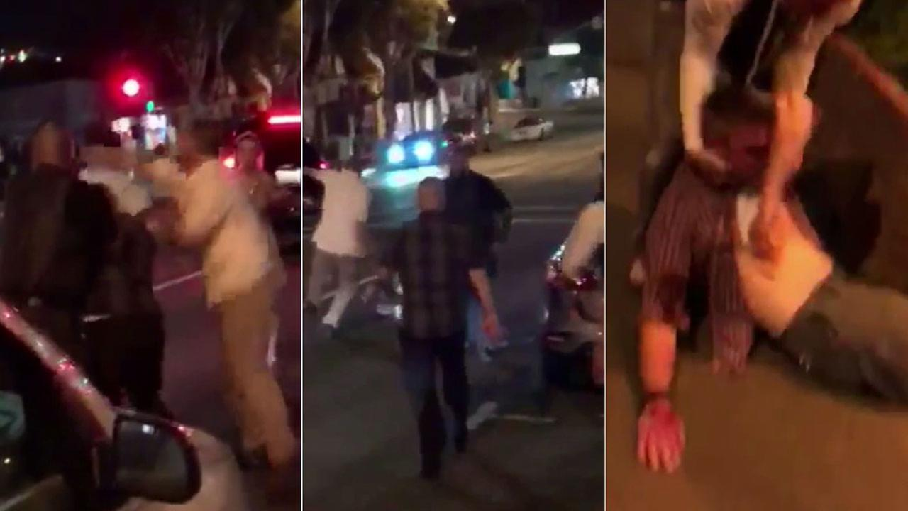 Left/center: A man was punched in the head and kicked on the ground outside a bar in Laguna Beach. Right: A second man is assisted by a bystander.