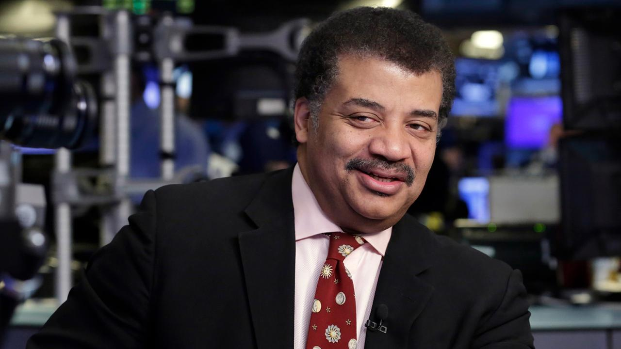 Astrophysicist, Neil deGrasse Tyson is interviewed on the floor of the New York Stock Exchange, Thursday, May 4, 2017.