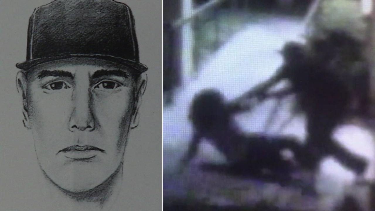 Authorities released a sketch of a man suspected of trying to sexually assault a woman and surveillance video showing the Aug. 12, 2017, confrontation.