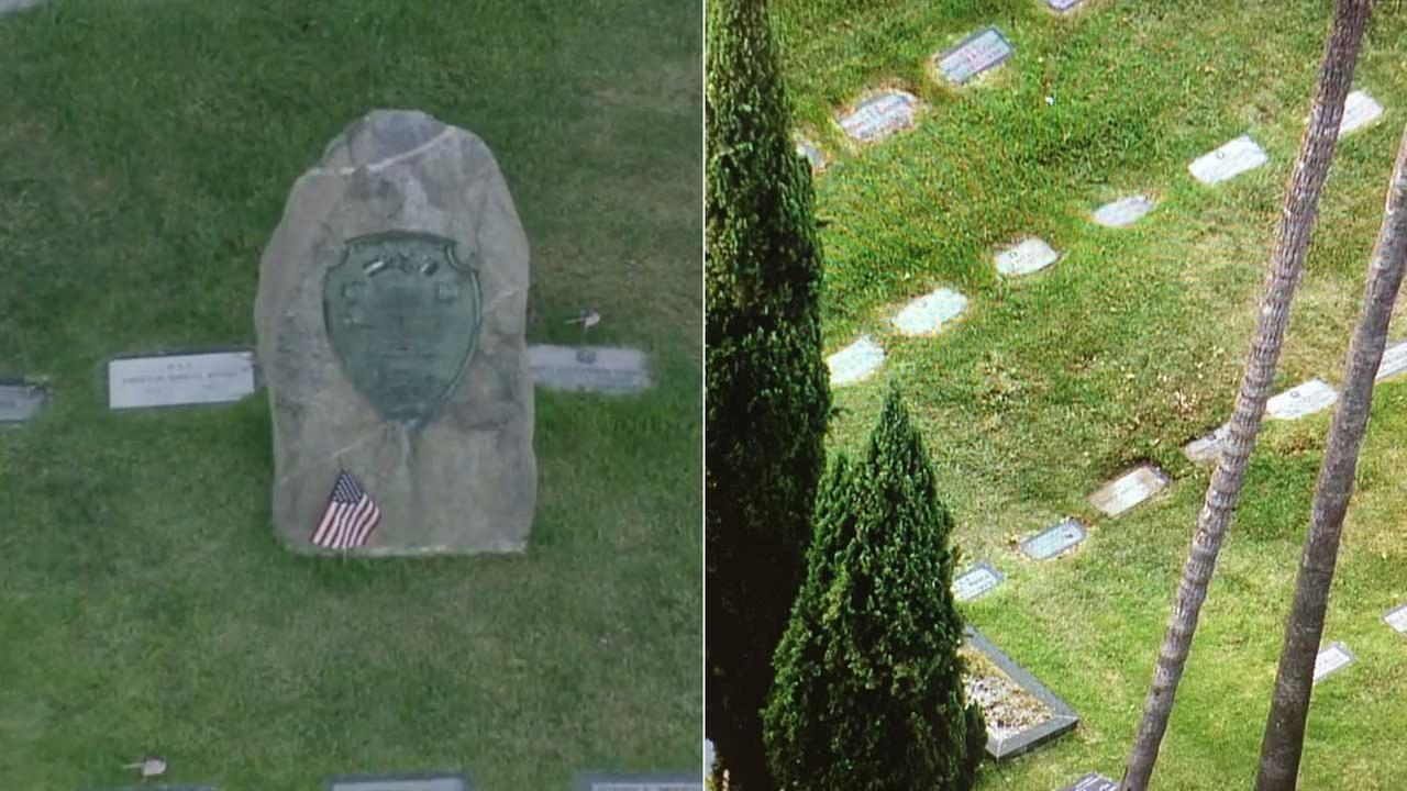 (L) The Confederate memorial at the Hollywood Forever Cemetery is shown on Tuesday, Aug. 15, 2017. (R) The area where the memorial used to be is seen Wednesday, Aug. 16, 2017.