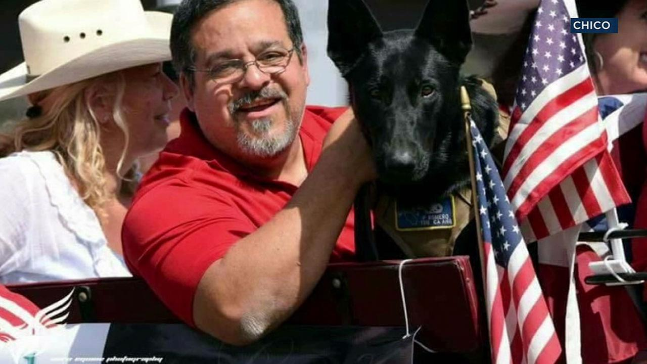 Air Force veteran Chico Romero and his service dog Jet, who is now missing and believed to be stolen.