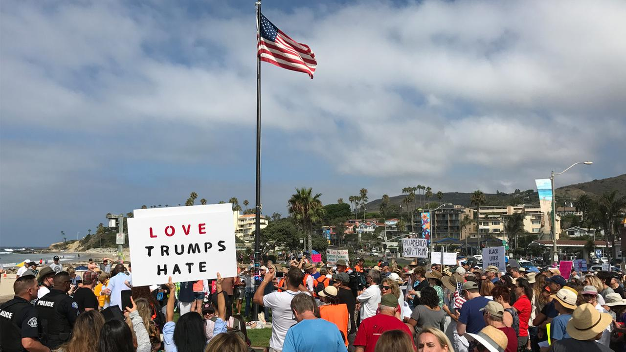 Counter protesters demonstrate in Laguna Beach on Saturday, Aug. 19, 2017, the day before a planned right-wing rally at the coastal citys Main Beach.