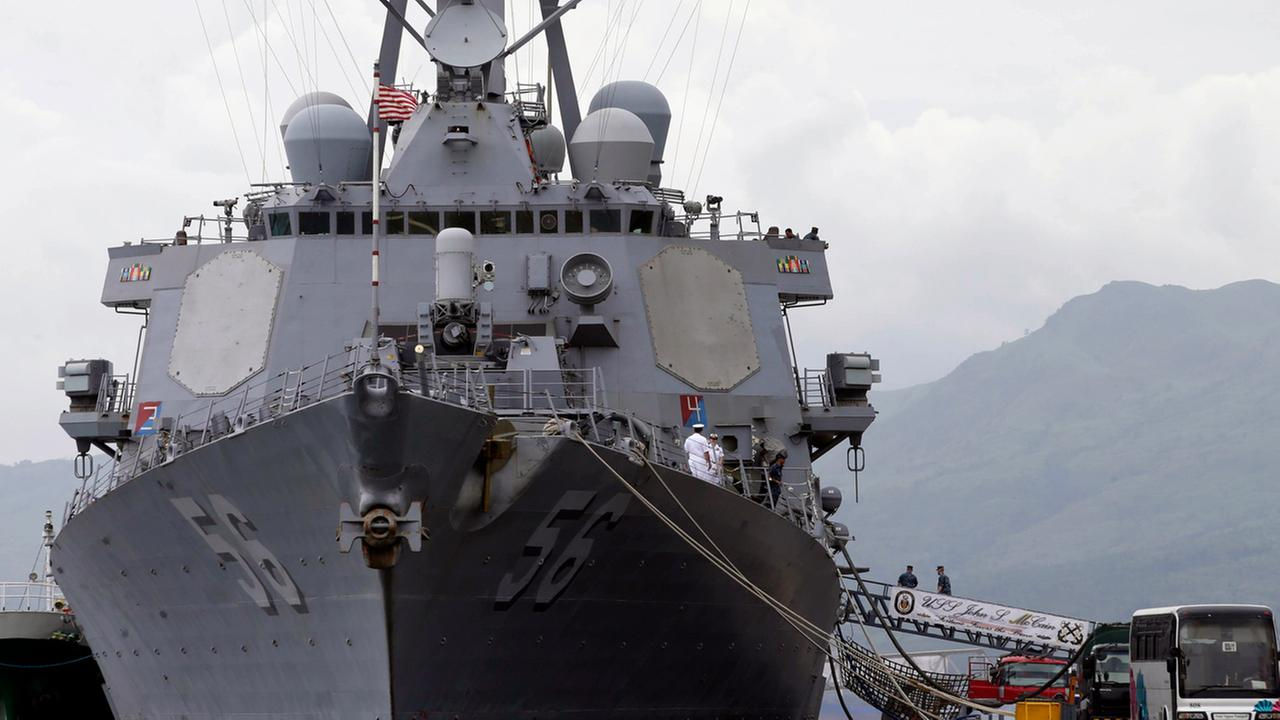 The U.S. Navy warship USS John McCain is seen at the Subic Freeport, about 70 miles west of Manila, Philippines Thursday, June 26, 2014.