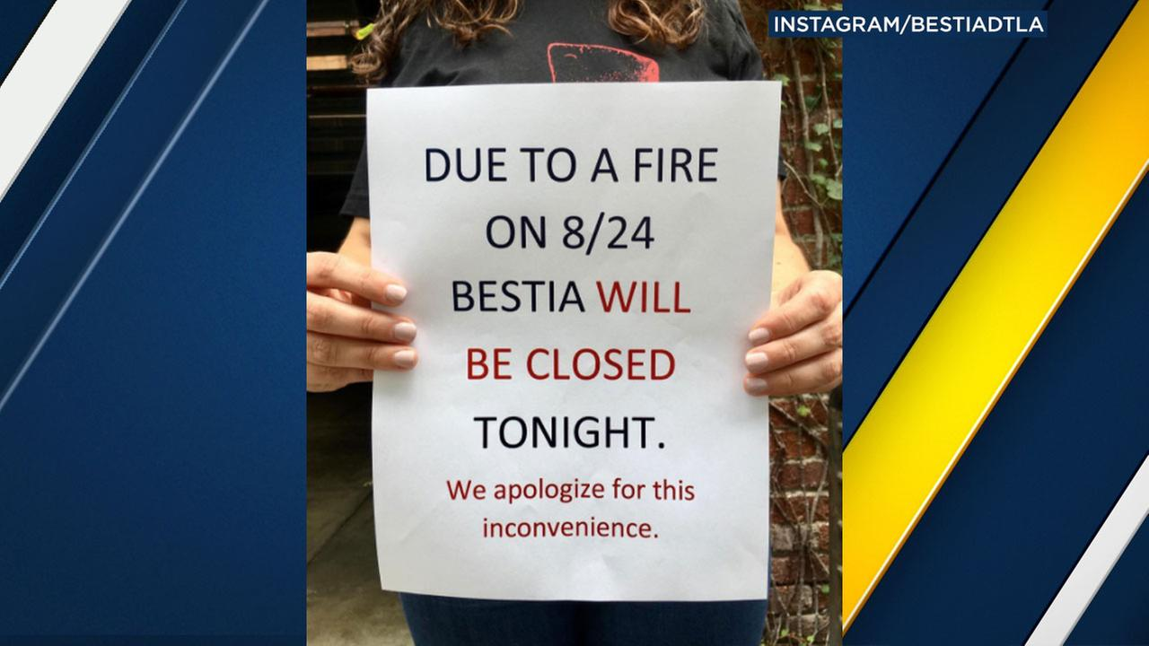 A sign posted on Bestias Instagram account states the downtown L.A. restaurant will be closed over the weekend because of a kitchen fire.