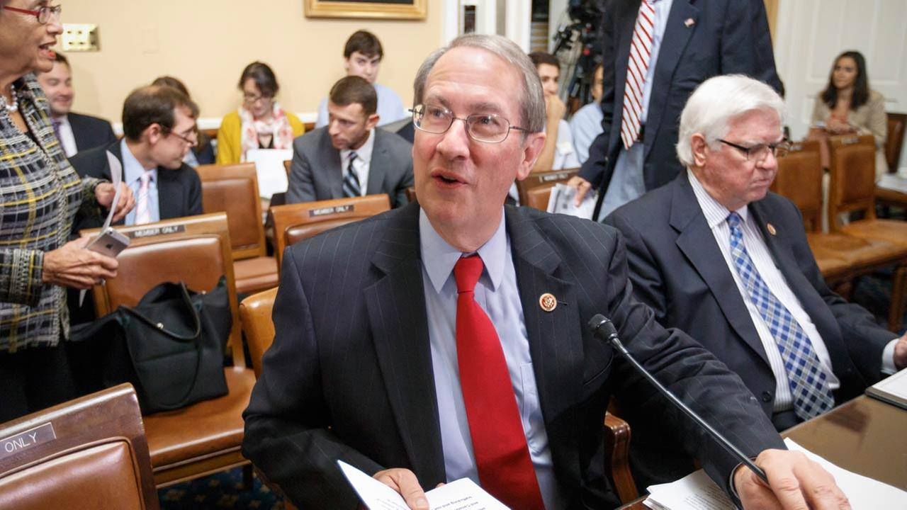 House Judiciary Committee Chairman Rep. Bob Goodlatte, R-Va., left, and House Appropriations Committee Chairman Rep. Hal Rogers, R-Ky., make their presentations on Capitol Hill.