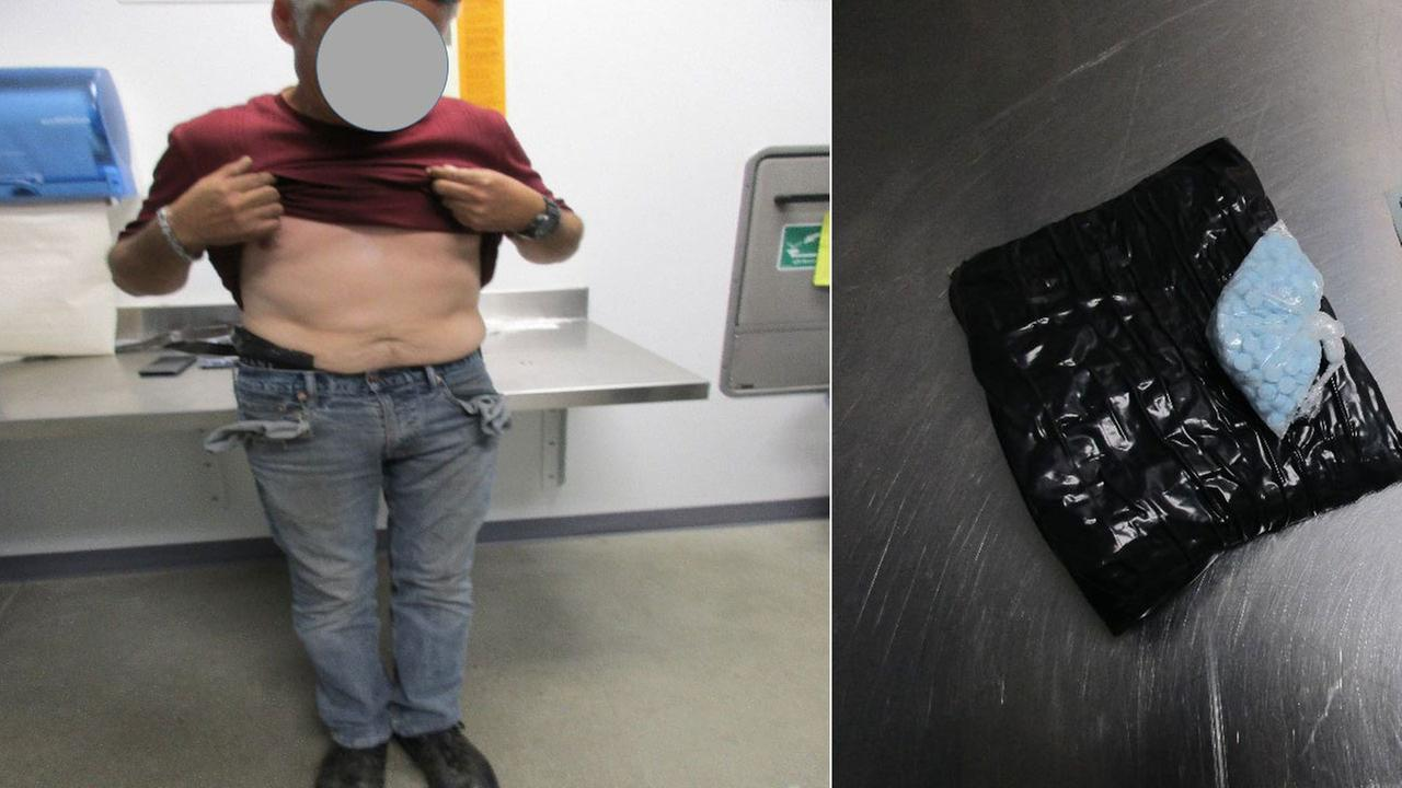 Customs and Border Protection officers say they stopped a 50-year-old U.S. citizen at the San Ysidro border and discovered 2,171 tablets of tramadol concealed on his person.