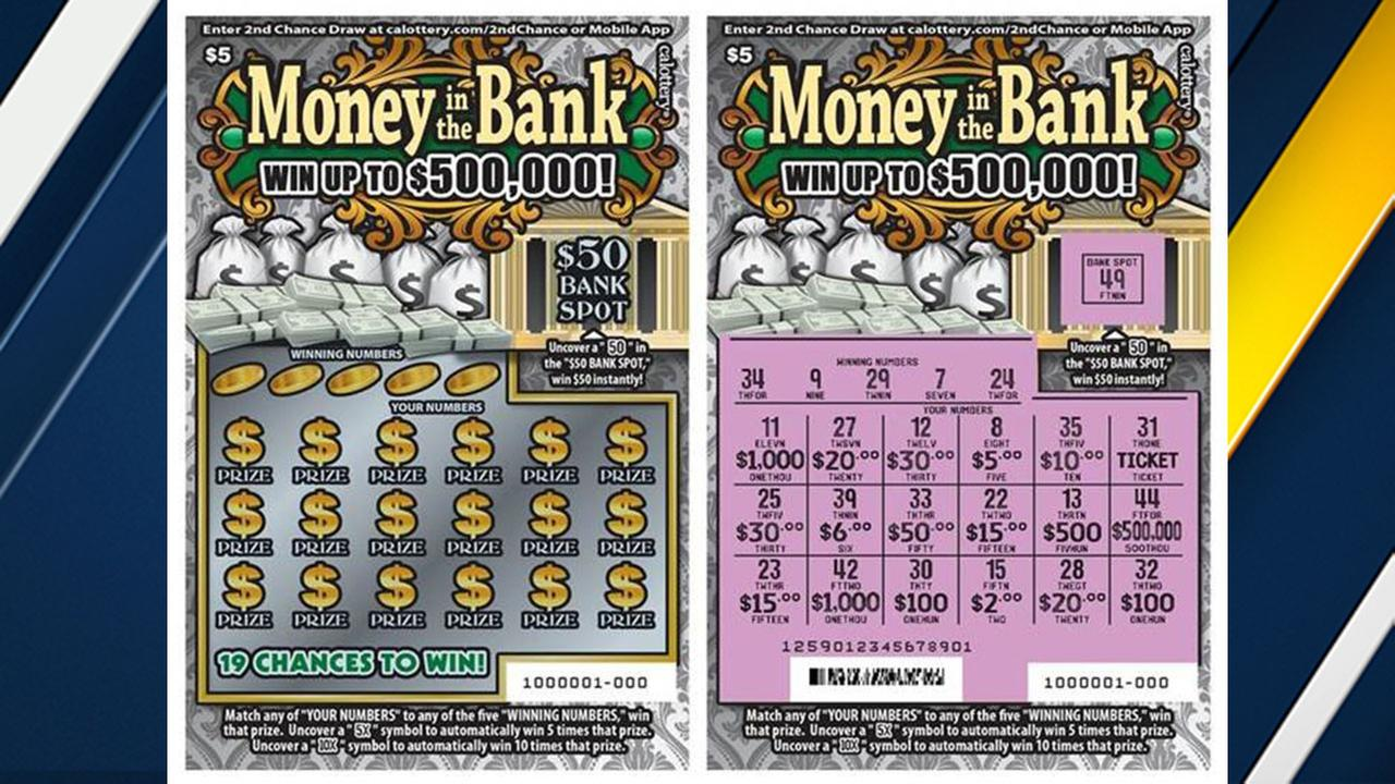 A sample ticket in the California Lotterys Money in the Bank scratchers game, which offers a top prize of $500,000.
