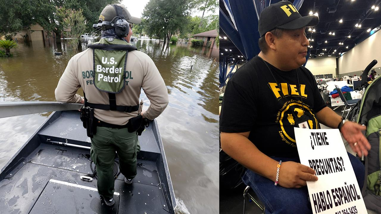 Border Patrol Agent Steven Blackburn, left, looks out while standing on the bow of an air boat. Alain Cisneros, right, a community organizer for FIEL, counsels Harvey evacuees.