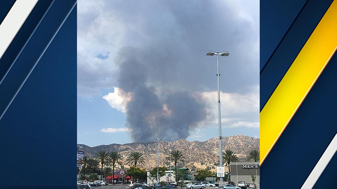 Smoke rises from a brush fire in the La Tuna Canyon area.Phillip Palmer